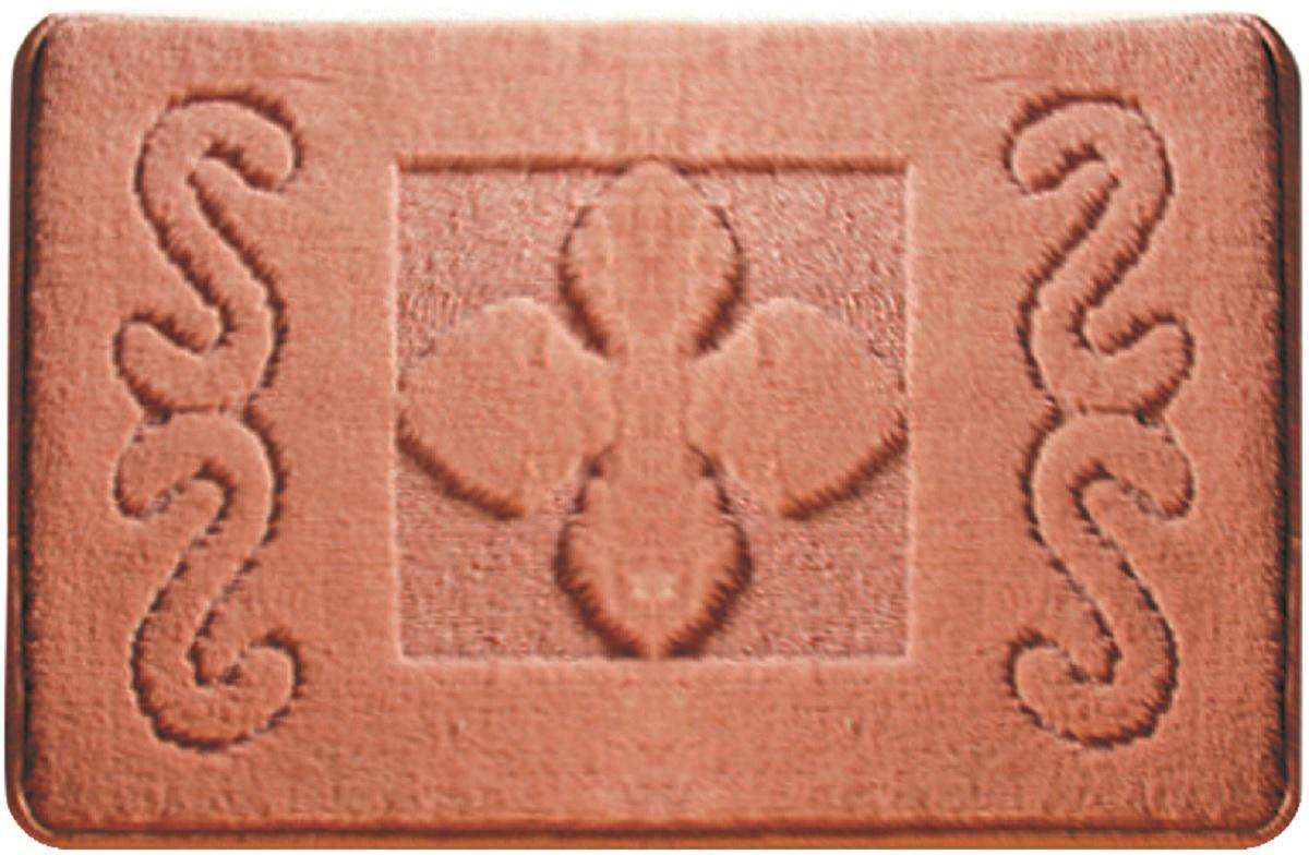 Коврик для ванной Milardo Harmony Style, цвет: оранжевый, 40 х 70 смMMI120MКоврик для ванной Milardo Harmony Style выполнен из микрофибры (100% полиэстер) на латексной основе. Коврик долго прослужит в вашем доме, добавляя тепло и уют, а также внесет неповторимый колорит в интерьер ванной комнаты.Высота ворса: 1,5 см.