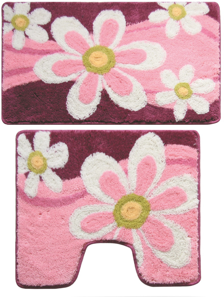 Комплект ковриков для ванной Milardo Merry Camomile, цвет: розовый, 2 шт набор ковриков для ванной iddis beige landscape цвет бежевый 60 х 90 см 50 х 50 см 2 шт