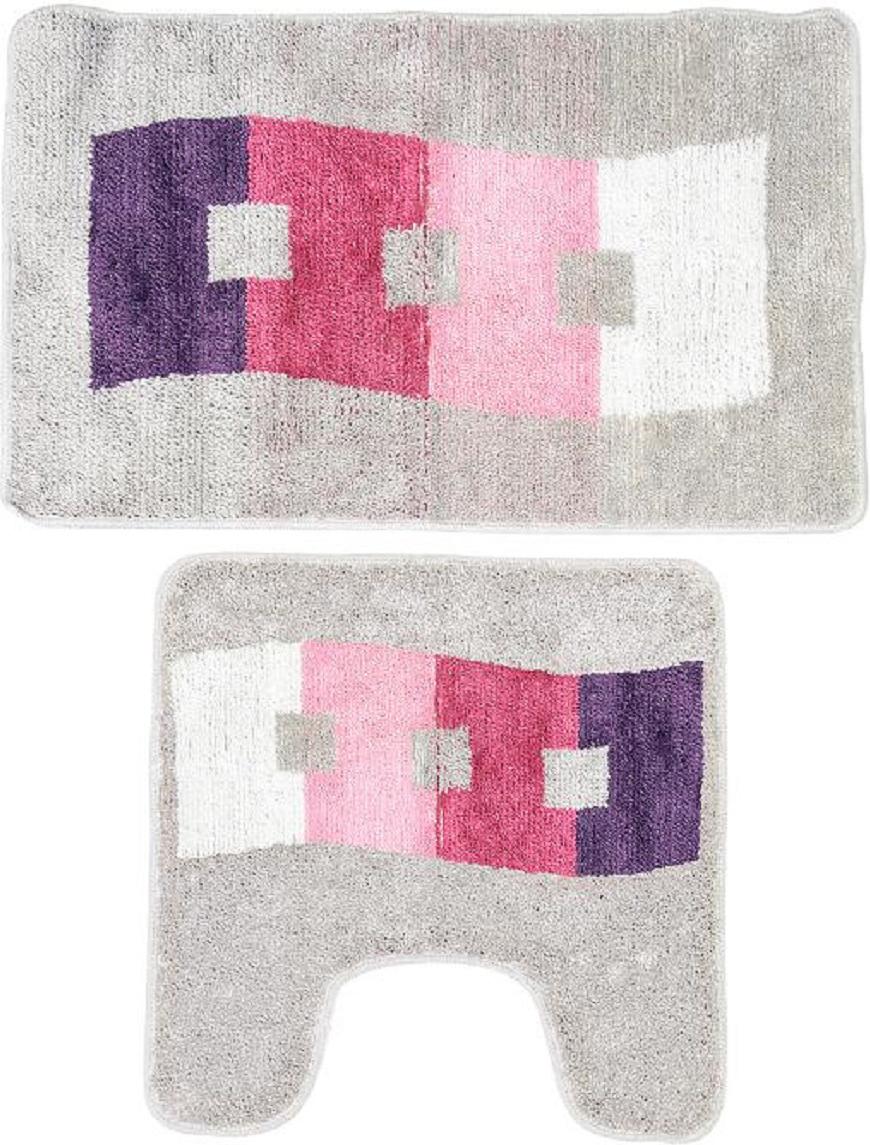Комплект ковриков для ванной Milardo Curvy Esplanade, цвет: серый, 2 шт480PA58M13Комплект Milardo Curvy Esplanade состоит из двух ковриков для ванной комнаты: прямоугольного и с вырезом. Изделия изготовлены из 90% полиэстера и 10% акрила. Благодаря специальной обработке нижней стороны, коврики не скользят на плитке. Яркий дизайн позволит оформить ванную комнату по вашему вкусу.Размер ковриков: 80 х 50 см; 50 х 50 см.Высота ворса: 1 см.