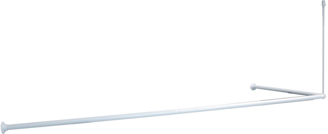 Карниз для ванной Iddis, угловой, цвет: белый, 90 х 90 х 90 (90 х 180) см
