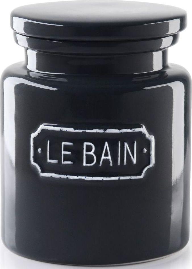 """Благодаря эффектному сочетанию утилитарной минималистичной формы, глазури графитового цвета и надписи в изящной рамке баночка для соли """"Le Bain"""" гармонично впишется как в современный, так и классический интерьер."""