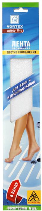"""Противоскользящая лента """"Vortex"""", выполненная из мягкого текстурированного полимера, предназначена для покрытия поверхностей в местах с повышенной влажностью - в ванной, душевых кабинах, банях, саунах, раздевалках, вокруг бассейнов. Безопасная, противоскользящая поверхность, высокая прочность и долговечность. Легко очищается бытовыми моющими средствами. Эффективно защищает от скольжения, падений и травм. Проста в применении.  Характеристики:  Материал: мягкий текстурированный полимер, (ПВХ) высокоэффективный клеящий состав. Ширина ленты: 2 см. Длина ленты: 38 см. Комплектация: 6 шт. Размер упаковки: 41 см х 7,5 см х 0,2 см. Изготовитель: Китай. Артикул: 22512."""