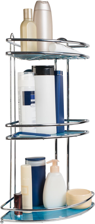 Полка угловая Tatkraft Kaiser, трехъярусная10000Трёхъярусная угловая полка Tatkraft, выполненная из хромированной стали c 4-х слойным покрытием сантибактериальным эффектом, прекрасно подойдет для кухни или ванной комнаты. Удобная и вместительная,полка имеет возможность как настенной, так и настольной установки. Благодаря оптимальному расстояниюмежду полками (25 см), очень удобна для хранения и использования шампуней, гелей и кремов. Съемные вкладышиголубого цвета позволяют размещать на полке мелкие предметы. Полка крепится к стене при помощи двухприсосок или шурупов (не входят в комплект).Благодаря компактным размерам полка не займет много места и позволит вам удобно и практично хранитьпредметы домашнего обихода. Надежная конструкция,высококачественные материалы обеспечиваютдолговременное её использование в помещениях с высокой влажностью. Характеристики:Материал: хромированная сталь, пластик. Размер: 35 см х 26 см х 58,5 см. Производитель: Германия. Изготовитель: Китай. Артикул: 696097.