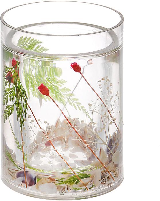 """Стаканчик """"Маки"""", изготовленный из прозрачного пластика, отлично подойдет для вашей ванной комнаты. Внутри стакана прозрачный гелевый наполнитель с маленькими ракушками и веточками красного и зеленого цвета. Стаканчик создаст особую атмосферу уюта и максимального комфорта в ванной. Характеристики:   Материал: пластик, акрил, гелевый наполнитель. Цвет: зеленый, белый, красный. Диаметр стаканчика по верхнему краю: 7,3 см. Высота стаканчика: 10,5 см. Производитель: Швеция. Изготовитель: Китай. Размер упаковки: 8,5 см х 8,5 см х 12,5 см. Артикул: 857-06."""