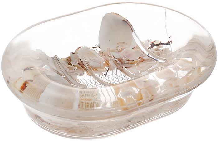 """Оригинальная мыльница """"Звезда"""", изготовленная из прозрачного пластика, отлично подойдет для вашей ванной комнаты. Внутри мыльницы гелиевый наполнитель с маленькими ракушками, морскими звездами и белой сеткой. Такая мыльница создаст особую атмосферу уюта и максимального комфорта в ванной. Характеристики:   Материал: пластик, акрил, гелиевый наполнитель. Цвет: белый, желтый. Размер мыльницы: 13,5 см х 10 см х 3,5 см. Производитель: Швеция. Изготовитель: Китай. Размер упаковки: 14,5 см х 10,5 см х 4 см. Артикул: 338-04."""