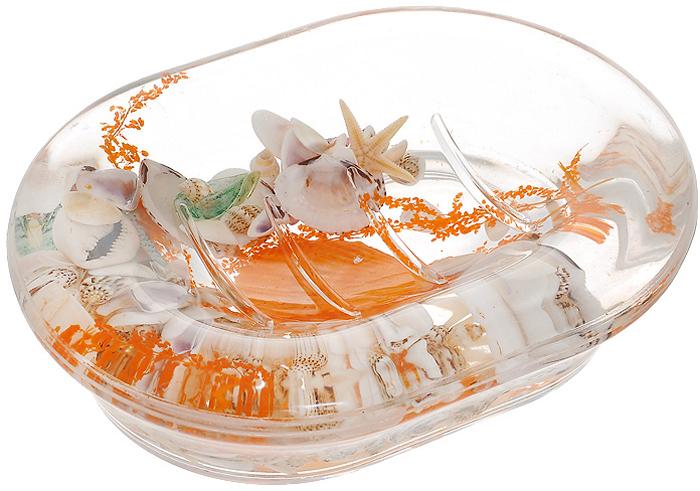 """Оригинальная мыльница """"Морское дно"""", изготовленная из прозрачного пластика, отлично подойдет для вашей ванной комнаты. Внутри мыльницы гелиевый наполнитель с морской звездой, ракушками и веточкой. Мыльница создаст особую атмосферу уюта и максимального комфорта в ванной. Характеристики:   Материал: пластик, акрил, гелиевый наполнитель. Цвет: оранжевый, белый. Размер мыльницы: 13,5 см х 10 см х 3,5 см. Производитель: Швеция. Изготовитель: Китай. Размер упаковки: 14,5 см х 10,5 см х 4 см. Артикул: 339-04."""
