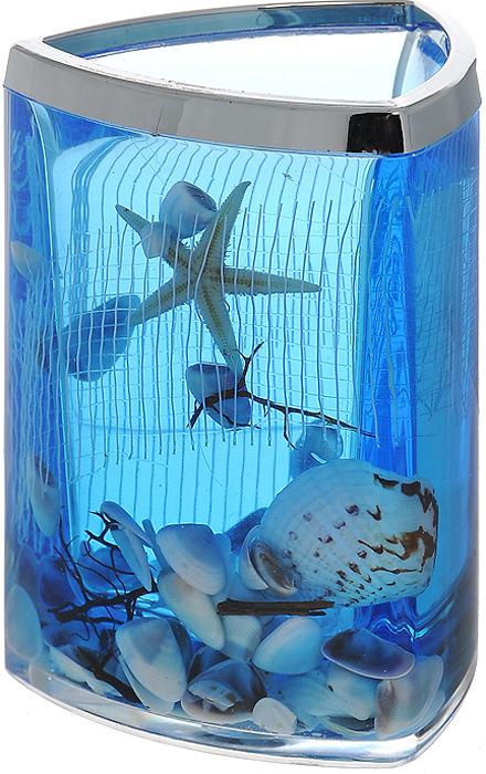 """Стаканчик """"Seastar Blue"""", изготовленный из прозрачного пластика, отлично подойдет для вашей ванной комнаты. Стаканчик имеет двойные стенки, между которыми находится синий гелевый наполнитель с маленькими ракушками, морской звездой и белой сеткой. Стаканчик """"Seastar Blue"""" создаст особую атмосферу уюта и максимального комфорта в ванной.   Характеристики:   Материал: пластик, акрил, гелевый наполнитель. Цвет: синий, белый, желтый. Размер стаканчика: 7,5 см х 7,5 см х 11 см. Производитель: Швеция. Изготовитель: Китай. Размер упаковки: 8 см х 8 см х 11,5 см. Артикул: 857-37."""