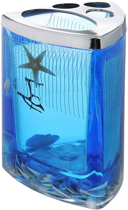 """Стаканчик для зубных щеток """"Seastar Blue"""", изготовленный из прозрачного пластика, отлично подойдет для вашей ванной комнаты. Стаканчик имеет двойные стенки, между которыми находится синий гелевый наполнитель с маленькими ракушками, морской звездой и белой сеткой. Стаканчик для зубных щеток """"Seastar Blue"""" создаст особую атмосферу уюта и максимального комфорта в ванной.   Характеристики:   Материал: пластик, акрил, гелевый наполнитель. Цвет: синий, белый, желтый. Размер стаканчика: 7,5 см х 7,5 см х 11 см. Производитель: Швеция. Изготовитель: Китай. Размер упаковки: 8 см х 8 см х 11,5 см. Артикул: 867-37."""