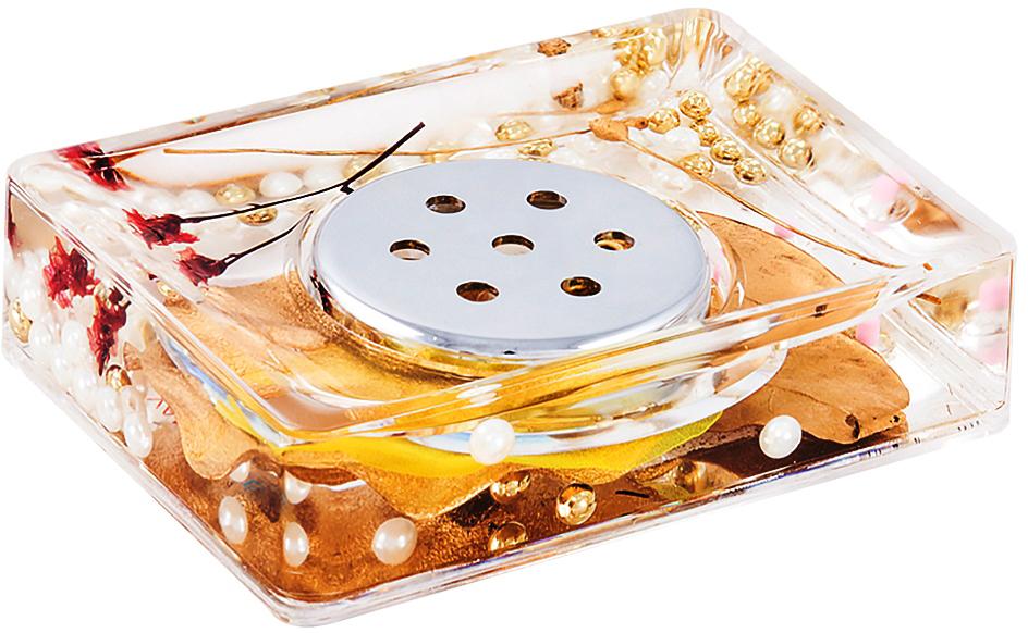 """Оригинальная мыльница """"Gold Leaf"""", изготовленная из пластика, отлично подойдет для вашей ванной комнаты. Внутри мыльницы прозрачный гелевый наполнитель с золотистыми и белыми бусинами, веточками и листочками. Мыльница создаст особую атмосферу уюта и максимального комфорта в ванной.   Характеристики:   Материал: пластик, акрил, гелевый наполнитель. Цвет: золотистый, черный, белый. Размер мыльницы: 10,5 см х 7 см х 3,5 см. Производитель: Швеция. Изготовитель: Китай. Размер упаковки: 11,5 см х 8 см х 4,5 см. Артикул: 887-88."""