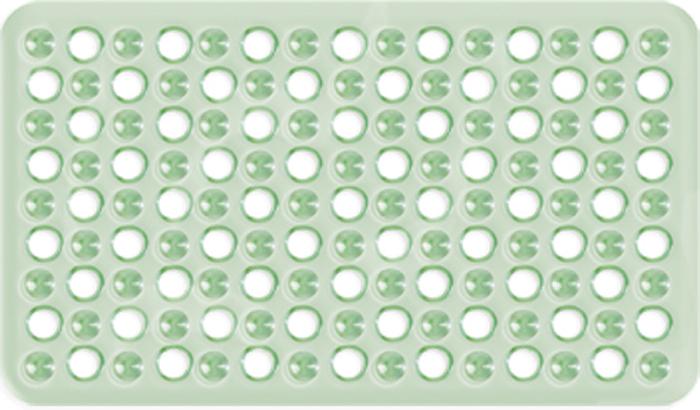 """Коврик для ванны и душевой кабины Tatkraft """"Leman"""" выполнен из винила зеленого цвета. Противоскользящий коврик для ванны - это хорошая защита детей и взрослых от неожиданных падений на гладкой мокрой поверхности. Коврик очень плотно крепится ко дну множеством присосок, расположенных по всей изнаночной стороне. Отверстия, предназначенные для пропуска воды, способствуют лучшему сцеплению с поверхностью, таким образом, полностью, исключая скольжение.   Принимая душ или ванную, постелите противоскользящий коврик. Это особенно актуально для семьи с маленькими детьми и пожилыми людьми. Характеристики:   Материал:  винил. Цвет:  зеленый. Размер:  59 см х 37 см. Артикул:  14244."""