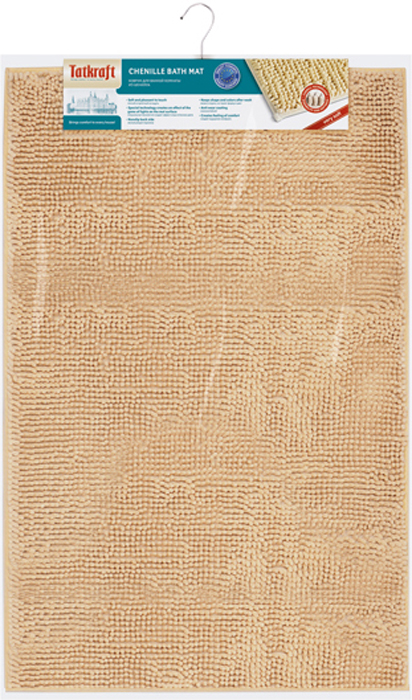 """Коврик для ванной комнаты """"Tatkraft"""" выполнен из шенилла песочного цвета с длинным ворсом. Мягкий и приятный на ощупь коврик обладает высокой износостойкостью, а также имеет нескользящую подложку. Специальная технология создает эффект игры оттенков цвета.  Шенилл в переводе с французского """"chenille"""" - гусеница. Шенилл - плотная, прочная ткань, имеющая очень сложную структуру по способу переплетения нитей, что делает ткань практически нерастяжимой, придает ей плотность и прочность. Пушистость шенилловой нити придает ткани необыкновенную мягкость. На такой ткани не образуются катышки, она всегда остается приятной на ощупь.  Коврик для ванной комнаты """"Tatkraft"""" не только сделает комфортным ваше пребывание в ванной, но и стильно украсит интерьер.  Можно стирать в стиральной машине: не теряет форму и цвет. Характеристики:   Материал: шенилл (100% полиэстер). Цвет: песочный. Высота ворса: 1,5 см. Размер коврика: 50 см х 80 см. Производитель: Эстония. Изготовитель: Китай. Артикул: 14183."""