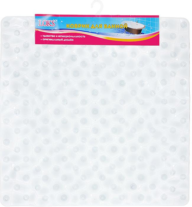 Коврик для ванной Loks, цвет: прозрачный белый, 54 х 54 см M500-116