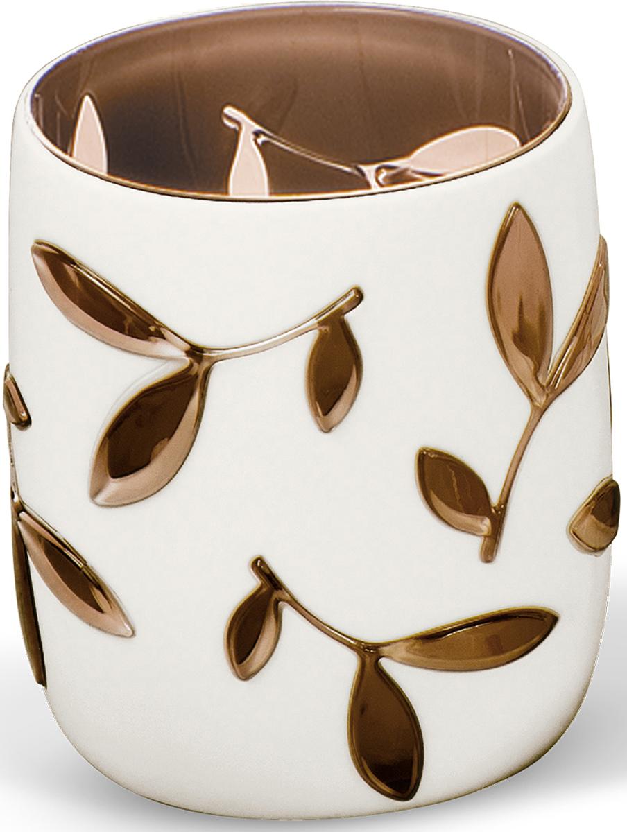 Стакан для ванной комнаты Tatkraft Immanuel Olive, цвет: серый, коричневый