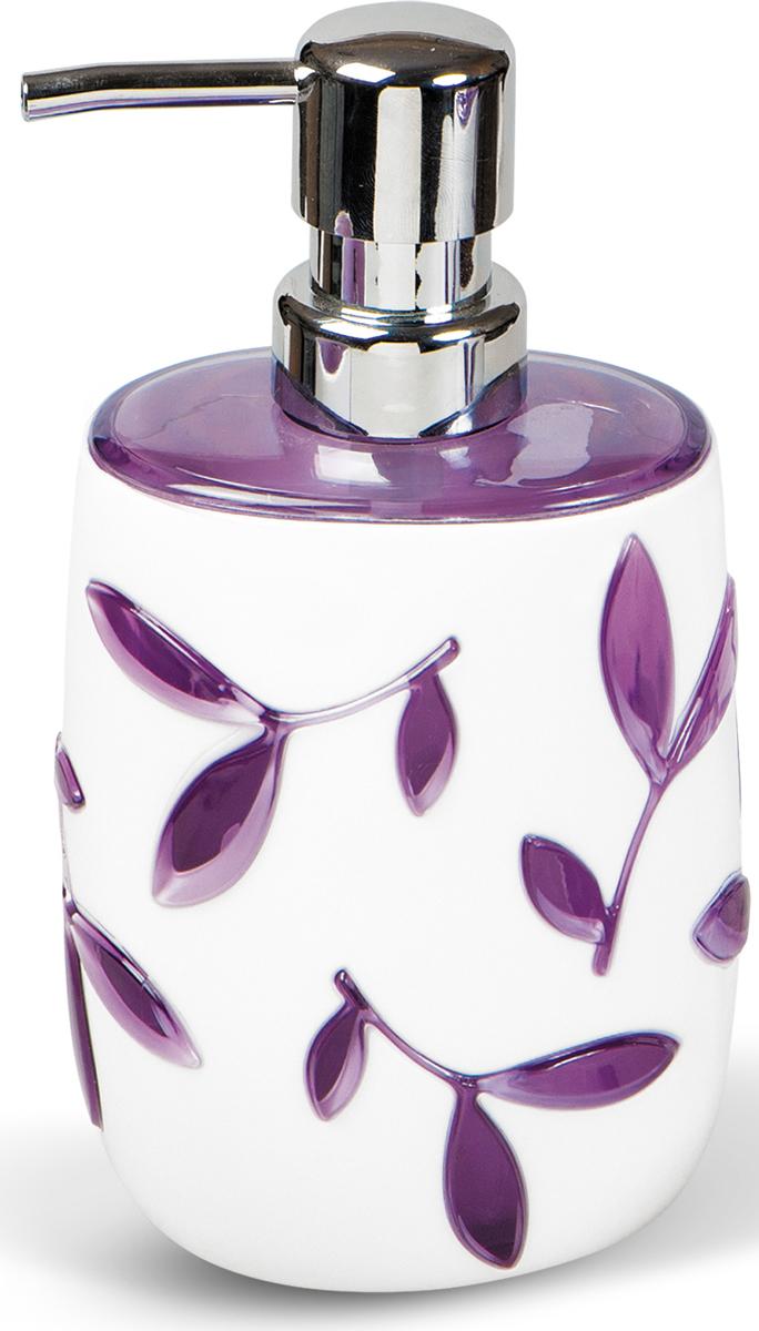 Дозатор для жидкого мыла Tatkraft Immanuel Olive Violet, цвет: белый, фиолетовый