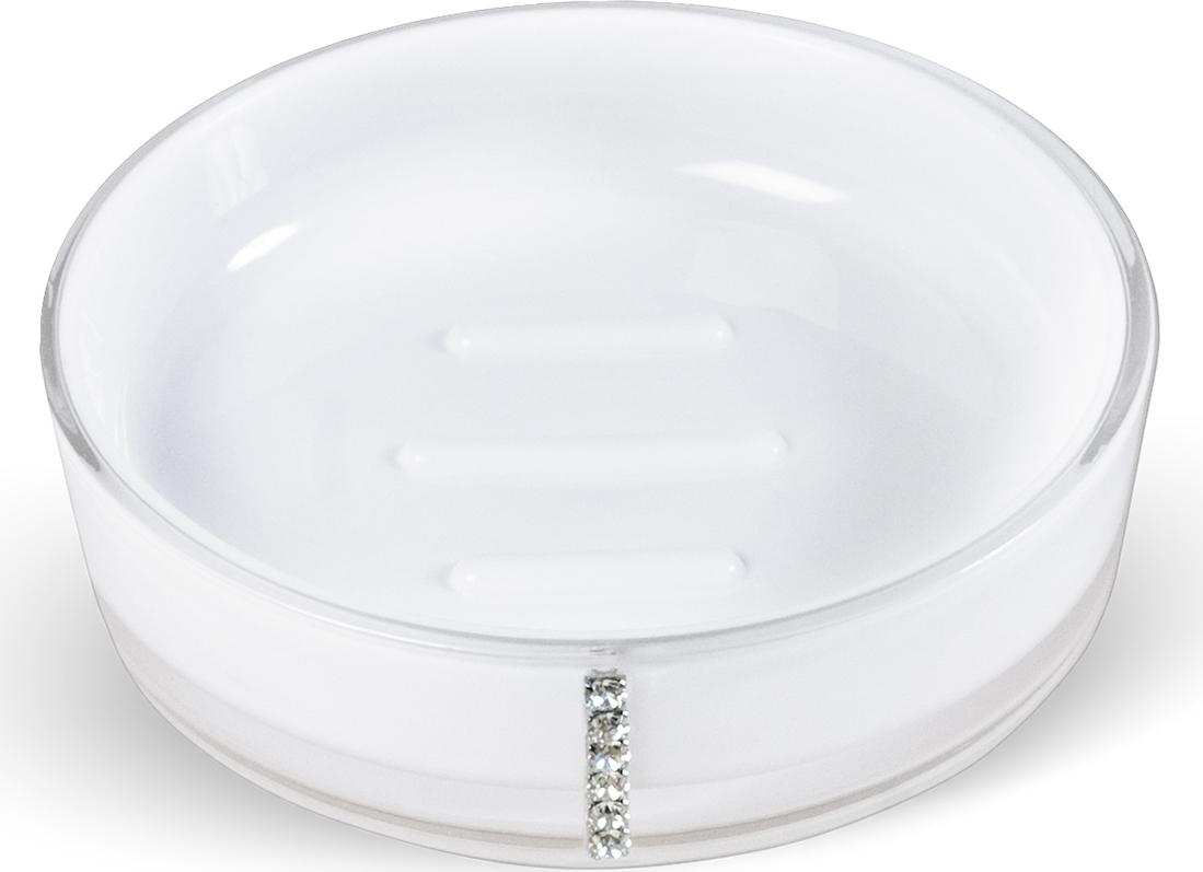"""Круглая мыльница """"Diamond White"""" выполнена из акрила и украшена стразами. Она имеет ребристое дно, что препятствует скольжению мыла.  Такая мыльница станет стильным аксессуаром, который украсит интерьер вашей ванной комнаты. Характеристики:    Материал: акрил, стразы. Цвет: белый. Диаметр мыльницы:  11,5 см. Высота мыльницы: 3 см. Размер упаковки:  11,5 см х 11,5 см х 3 см. Артикул: 694727."""