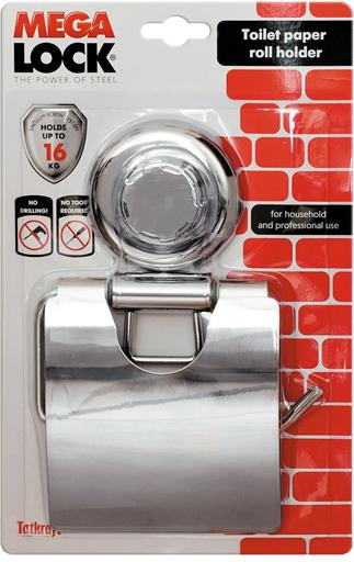 """Держатель для туалетной бумаги настенный Tatkraft """"Mega Lock"""" выполнен из хромированной стали. Быстро и легко устанавливается благодаря вакуумному шурупу.   Характеристики: Материал:  хромированная сталь, пластик. Диаметр присоски:  7,3 см Ширина держателя: 13 см. Размер металлической пластины: 11,7 см х 12,5 см."""