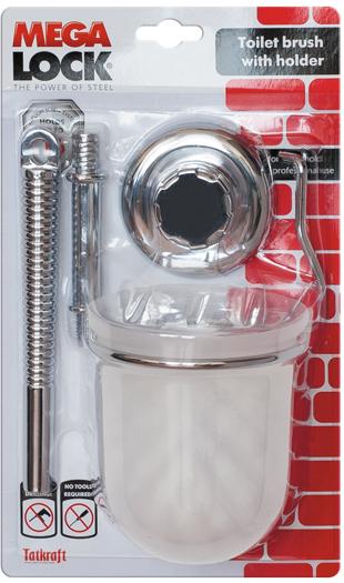 """Гарнитур для туалета Tatkraft """"Mega Lock"""" состоит из ершика и подставки. Ершик оснащен ручкой из хромированной стали, подставка выполнена из пластика. В комплекте - крепления (вакуумный шуруп). Функциональный гарнитур для туалета Tatkraft """"Mega Lock"""" оригинально оформит ванную комнату или туалет.   Характеристики:Материал: хромированная сталь, пластик. Цвет: белый, стальной. Длина ворса ершика: 2,5 см. Диаметр подставки: 10 см. Высота подставки: 11,5 см. Размер упаковки: 17 см х 27 см х 10 см. Артикул: 11540."""