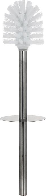 """Ерш для унитаза с подставкой Duschy """"Aster"""" выполнен из керамики белого цвета, украшенной растительным рисунком черного и серого цветов. Прочная металлическая ручка и жесткий ворс обеспечивают эффективное использование. Подставка под ерш отличается легкостью и компактностью. Такой набор станет достойным дополнением туалетной комнаты. Характеристики:  Материал: керамика, металл. Цвет: белый. Размер подставки: 24 см х 10 см х 10 см. Длина ершика: 34 см. Размер упаковки: 26 см х 13 см х 13 см. Артикул: 354-06."""