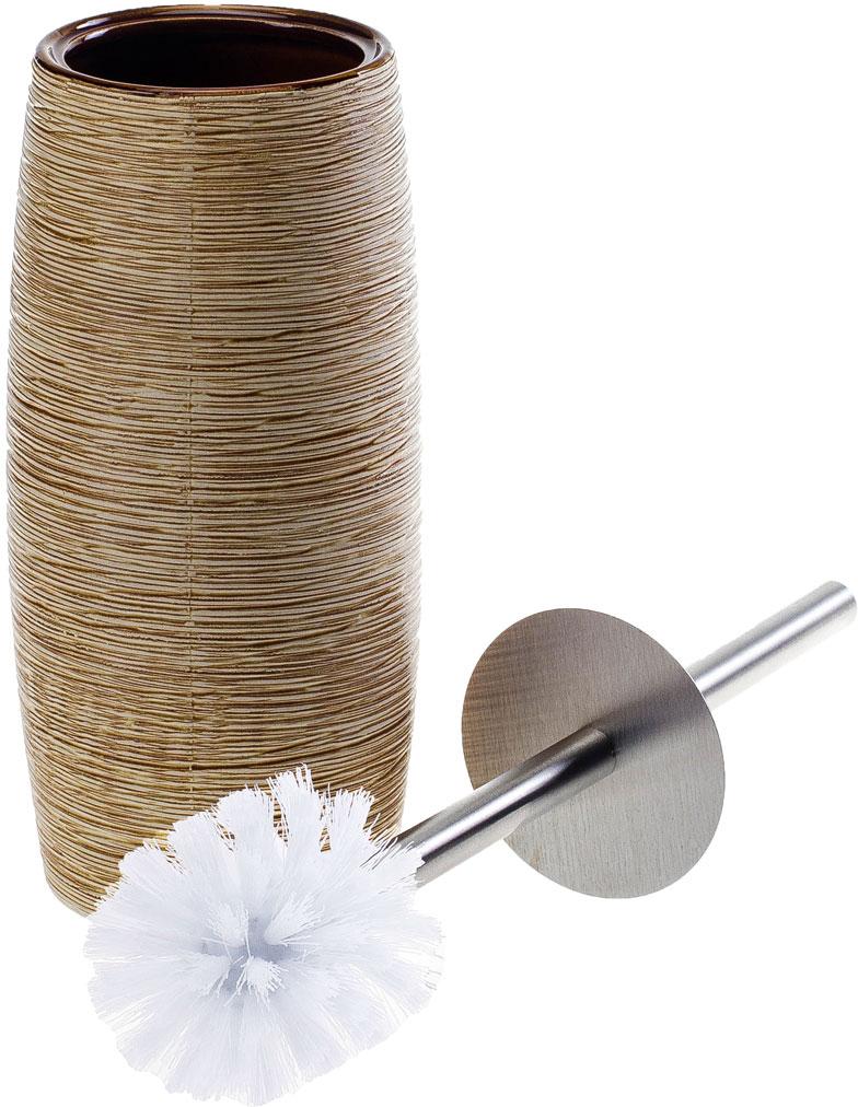 """Ерш для унитаза с подставкой Duschy """"Bees Light"""" выполнен из керамики бежевого цвета. Прочная металлическая ручка и жесткий ворс обеспечивают эффективное использование. Подставка под ерш отличается легкостью и компактностью, имеет рельефную поверхность, при этом она устойчива. Такой набор станет достойным дополнением туалетной комнаты. Характеристики:Материал: керамика, металл. Цвет: бежевый. Размер подставки: 24 см х 10 см х 10 см. Длина ершика: 34 см. Размер упаковки: 26 см х 13 см х 13 см. Артикул: 351-06."""