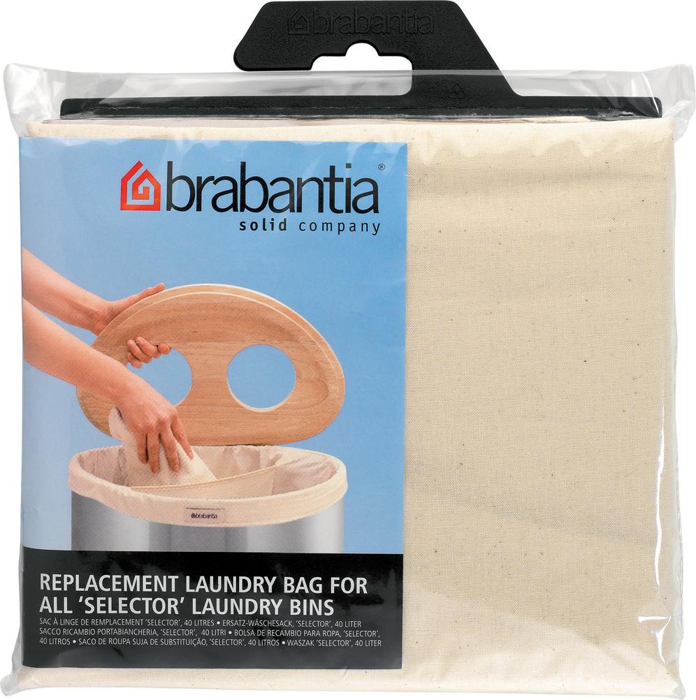 Сменный мешок подойдет для двухсекционного бака для белья Brabantia объемом  40 л.  Этот мешок для белья цвета экрю изготовлен из прочной ткани (100% хлопок) и  легко стирается.  Благодаря эластичным прорезиненным краям мешок легко устанавливается и  не соскальзывает в бак.