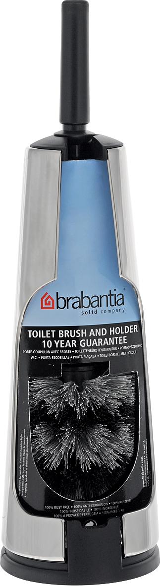 Ершик туалетный Brabantia Classic, с держателем, цвет: стальной полированный. 414640414640Устойчивость к коррозии – идеальное решение для ванной или туалетной комнаты. Ершик эстетично спрятан в подставке. Прост в очистке. Изготовленная из пластика щетка легко чистится и имеет длительный срок службы. Превосходно сочетается держателем для туалетной бумаги, мусорными баками и другими изделиями Brabantia.