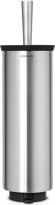 Ершик туалетный Brabantia Profile, с держателем, цвет: стальной матовый. 427183427183Ерш Brabantia Profile можно крепить к стене с помощью поставляемого в комплекте кронштейна. Так же изделие можно использовать и на полу, благодаря основанию с противоскользящими свойствами, которое предотвращает скольжение по плитке. Удобная и качественная очистка благодаря специальной форме ершика - идеальная чистота даже под ободом унитаза.Ершик эстетично спрятан под крышкой. Благодаря наличию съемного внутреннего стакана изделие гигиенично и удобно в очистке.Изделие легко снимается с настенного кронштейна для тщательной очистки поверхности стены.
