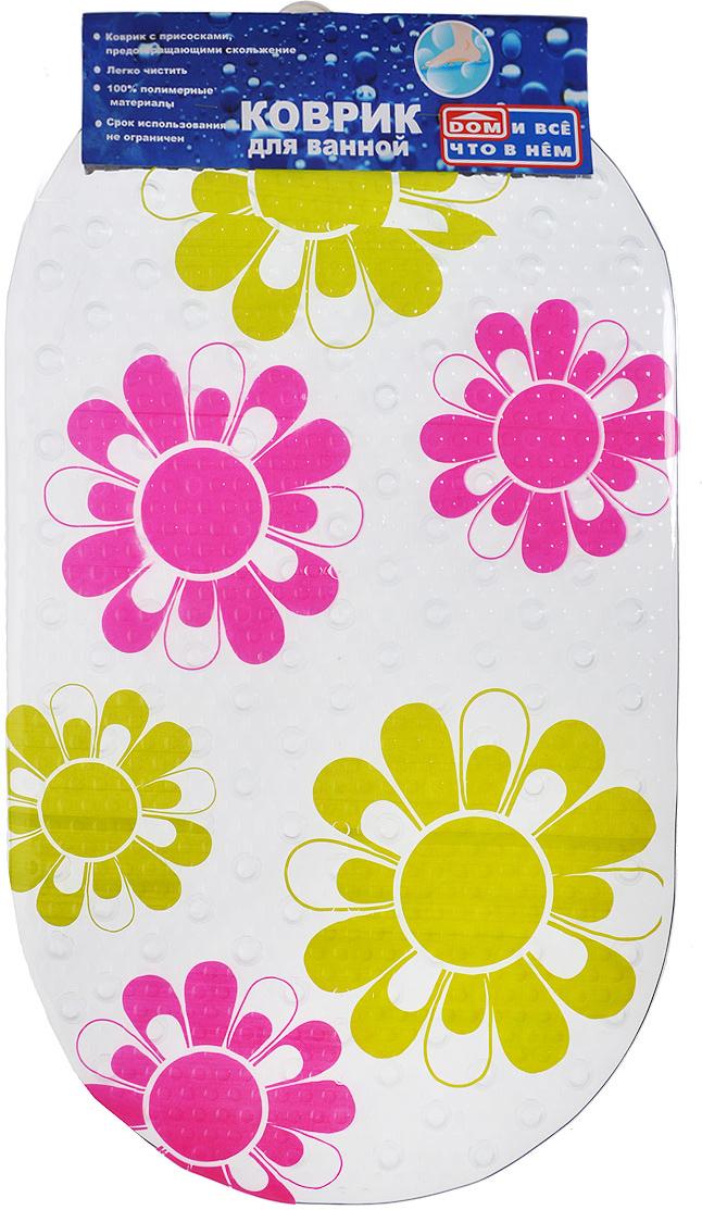 """Коврик для ванны и душевой кабины """"Цветы"""", выполненный из винила и   оформленный рисунком в виде цветов. Противоскользящий коврик для ванны - это хорошая защита детей и   взрослых от неожиданных падений на гладкой мокрой поверхности. Коврик очень плотно крепится ко дну множеством присосок, расположенных   по всей изнаночной стороне. Отверстия, предназначенные для пропуска   воды, способствуют лучшему сцеплению с поверхностью, таким образом,   полностью, исключая скольжение.   Принимая душ или ванную, постелите противоскользящий коврик. Это   особенно актуально для семьи с маленькими детьми и пожилыми людьми.       Характеристики:   Материал:  винил. Размер:  67 см х 37 см."""