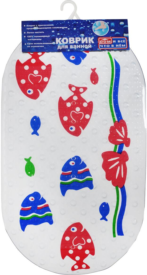 Коврик для ванны Рыбы, цвет: прозрачный, синий, красный, 67 см х 38 см roxy kids антискользящий коврик для ванны цвет желтый 34 см х 74 см