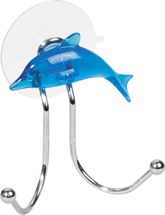 Крючок двойной Tatkraft Dolphin Blue, на присоске, 9,5 см х 6 см х 9 см11168
