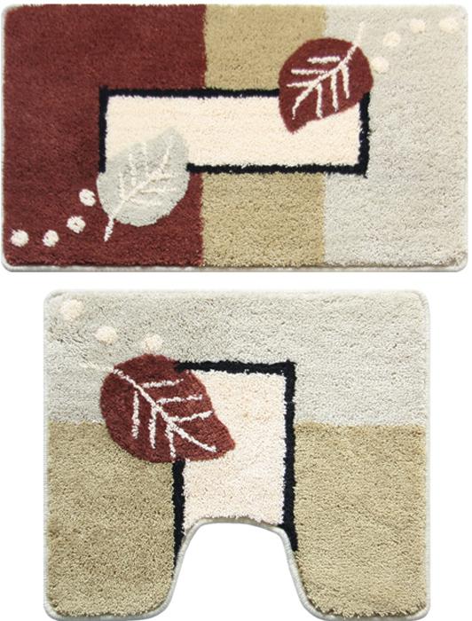 """Набор Milardo """"Late Autumn"""" включает два коврика для ванной комнаты: прямоугольный и с вырезом. Коврики изготовлены из полиэстера и акрила. Это экологически чистый, быстросохнущий, мягкий и износостойкий материал. Изделия оформлены изображением листьев; красители устойчивы, поэтому рисунок не потеряет цвет даже после многократных стирок в стиральной машине. Благодаря латексной основе коврики не скользят на полу. Края изделий обработаны оверлоком. Можно использовать на полу с подогревом. Рекомендации по уходу:- Разрешена стирка в стиральной машине при температуре 40°С при щадящем режиме отжима.  - Нельзя гладить. - Нельзя отбеливать. - Химчистка запрещена."""