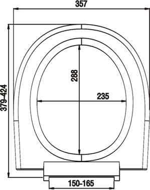 Размер крышки: 36,3 х 42,4 см. Размер отверстия: 23,5 х 28,8 см.  Размер сидушки: 35 х 36 см.