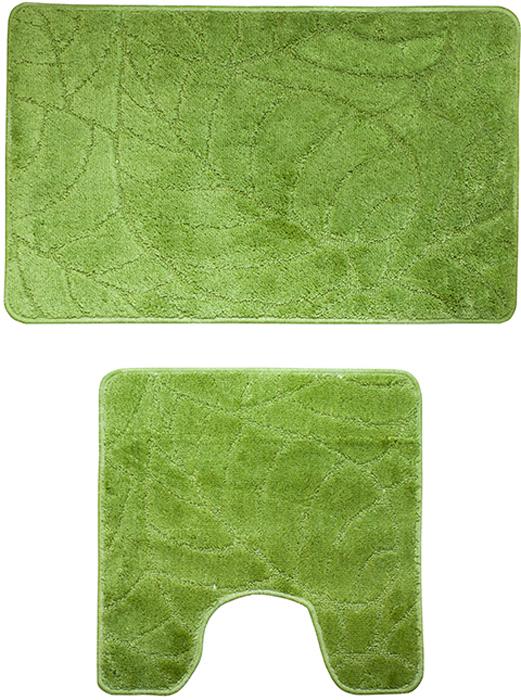 Набор ковриков для ванной комнаты Milardo Summer heights, цвет: зеленый, 2 шт