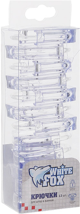 Крючки для штор в ванную White Fox, цвет: прозрачный, 12 шт. WBHO20-119WBHO20-119