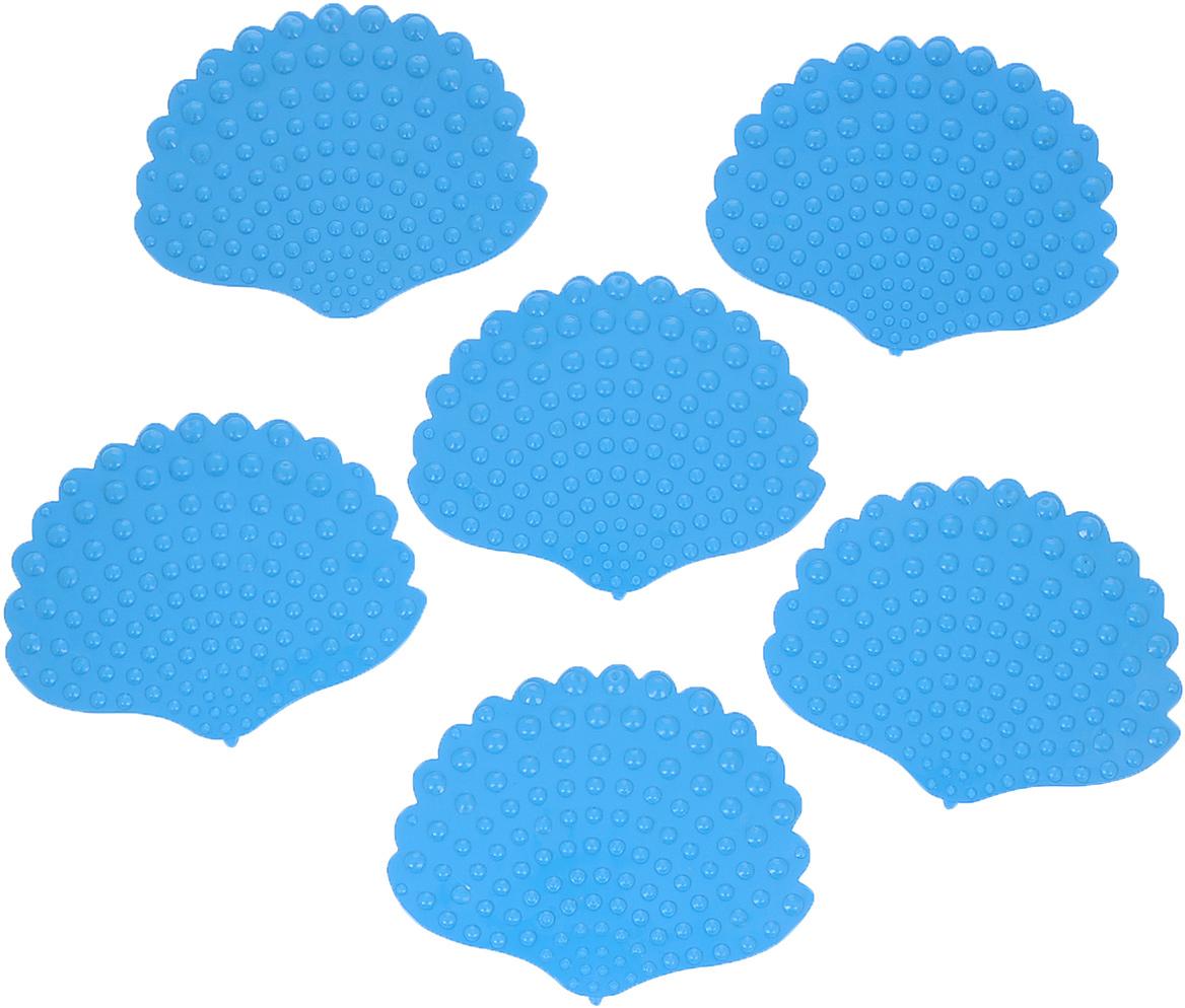 """Набор Dom Company """"Ракушка перламутровая"""" состоит из шести мини-ковриков для ванной, изготовленных из 100% полимерных материалов в форме ракушек. Коврики оснащены присосками, предотвращающими скольжение. Их можно крепить на дно ванны или использовать как декор для плитки. Коврики легко чистить."""
