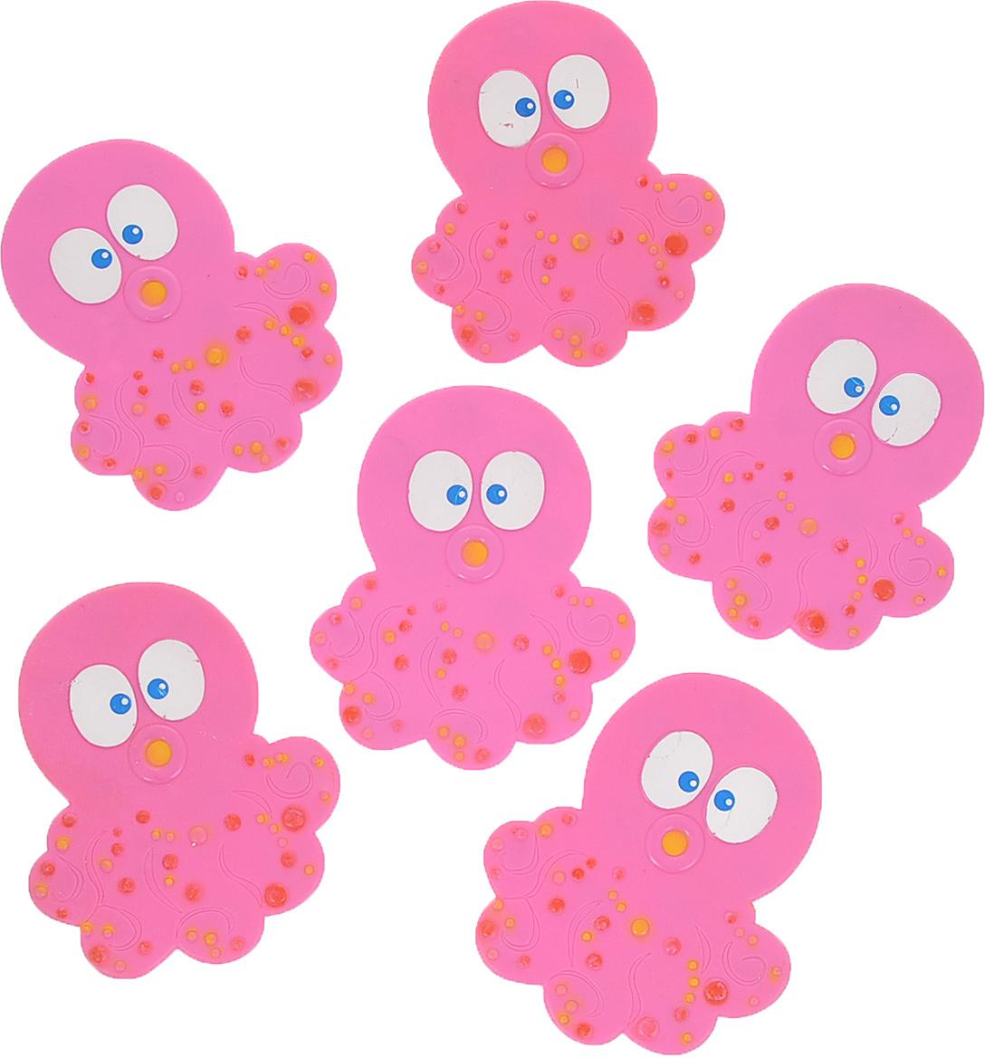 """Набор Dom Company """"Осьминог"""" состоит из шести мини-ковриков для ванной, изготовленных из 100% полимерных материалов в форме забавных осьминогов. Коврики оснащены присосками, предотвращающими скольжение. Их можно крепить на дно ванны или использовать как декор для плитки. Коврики легко чистить."""