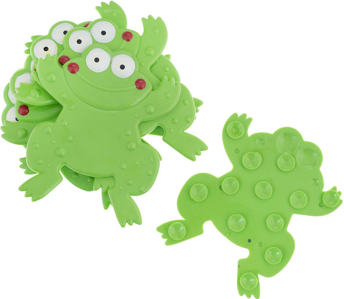 Набор мини-ковриков для ванной Лягушка, цвет: зеленый, 6 шт