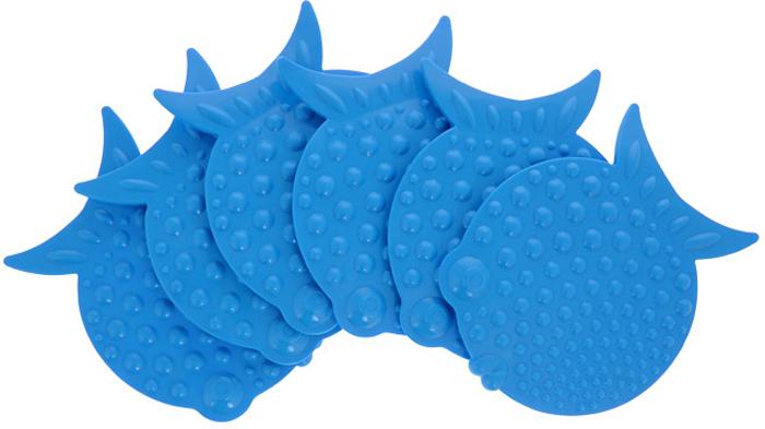 """Набор """"Перламутровая рыба"""" включает шесть мини-ковриков для ванной. Изготовлены из PVC (полимерные материалы). Коврики оснащены присосками, предотвращающими скольжение. Крепятся на дно ванны, также можно использовать как декор для плитки. Легко чистить.  Комплектация: 6 шт.Материал: 100% полимерные материалы.Размер мини-коврика: 12 см х 9,5 см."""