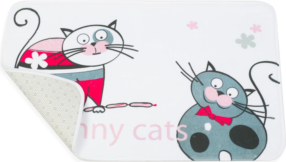 """Коврик для ванной комнаты Tatkraft """"Funny Cats"""" изготовлен из микрофибры - мягкого приятного на ощупь материала. Коврик отлично поглощает и впитывает влагу. Основание противоскользящее. Яркий красочный рисунок в виде забавных котов с сосисками внесет оригинальную нотку в интерьер ванной комнаты.  Коврики Tatkraft - прекрасное решение для ванной комнаты."""