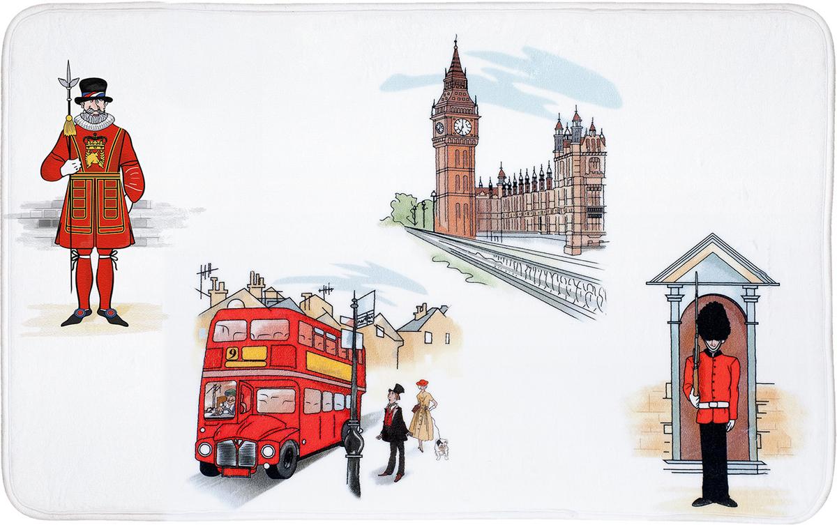 """Коврик для ванной комнаты Tatkraft """"London City"""" изготовлен из микрофибры Ultra Soft - мягкого, приятного на ощупь материала. Коврик отлично поглощает и впитывает влагу. Основание противоскользящее. Яркий красочный рисунок в лондонском стиле внесет оригинальную нотку в интерьер ванной комнаты.  Коврики Tatkraft - прекрасное решение для ванной комнаты."""