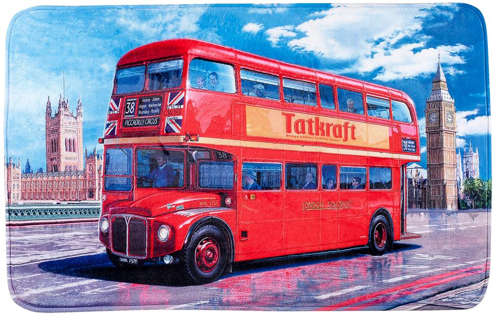 """Коврик для ванной комнаты Tatkraft """"London Bus"""" изготовлен из микрофибры - мягкого приятного на ощупь материала. Коврик отлично поглощает и впитывает влагу. Основание противоскользящее. Яркий красочный рисунок в виде двухэтажного красного автобуса внесет оригинальную нотку в интерьер ванной комнаты.  Коврики Tatkraft - прекрасное решение для ванной комнаты."""