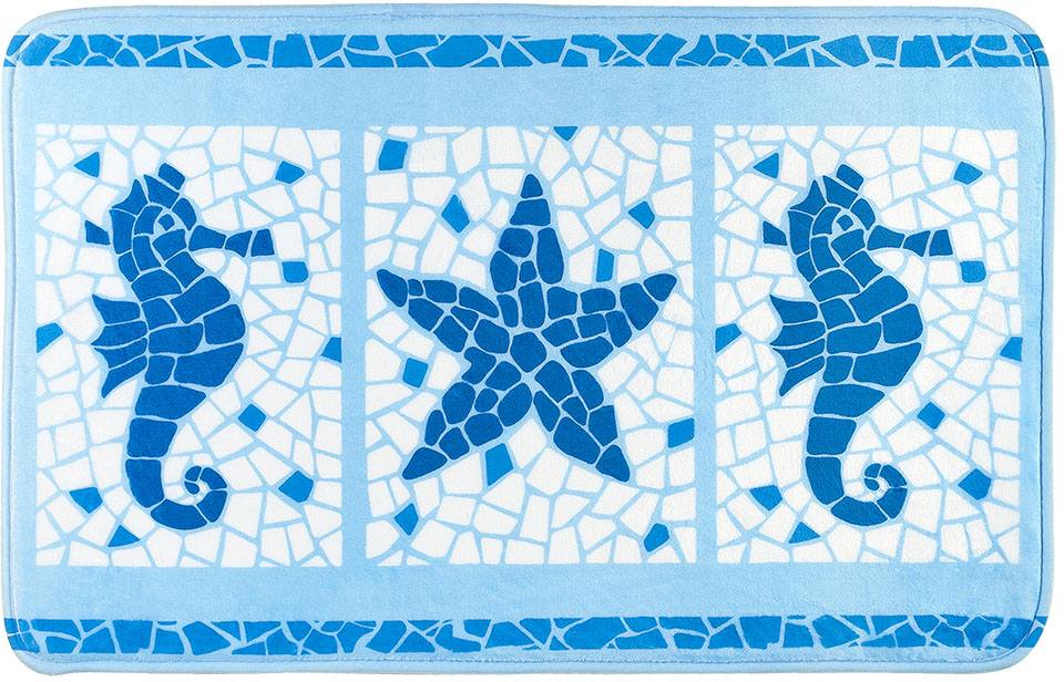 Коврик для ванной комнаты Tatkraft Marine Motifs, 50 см х 80 см коврики для ванной рыжий кот коврик для ванной bmp 52 p