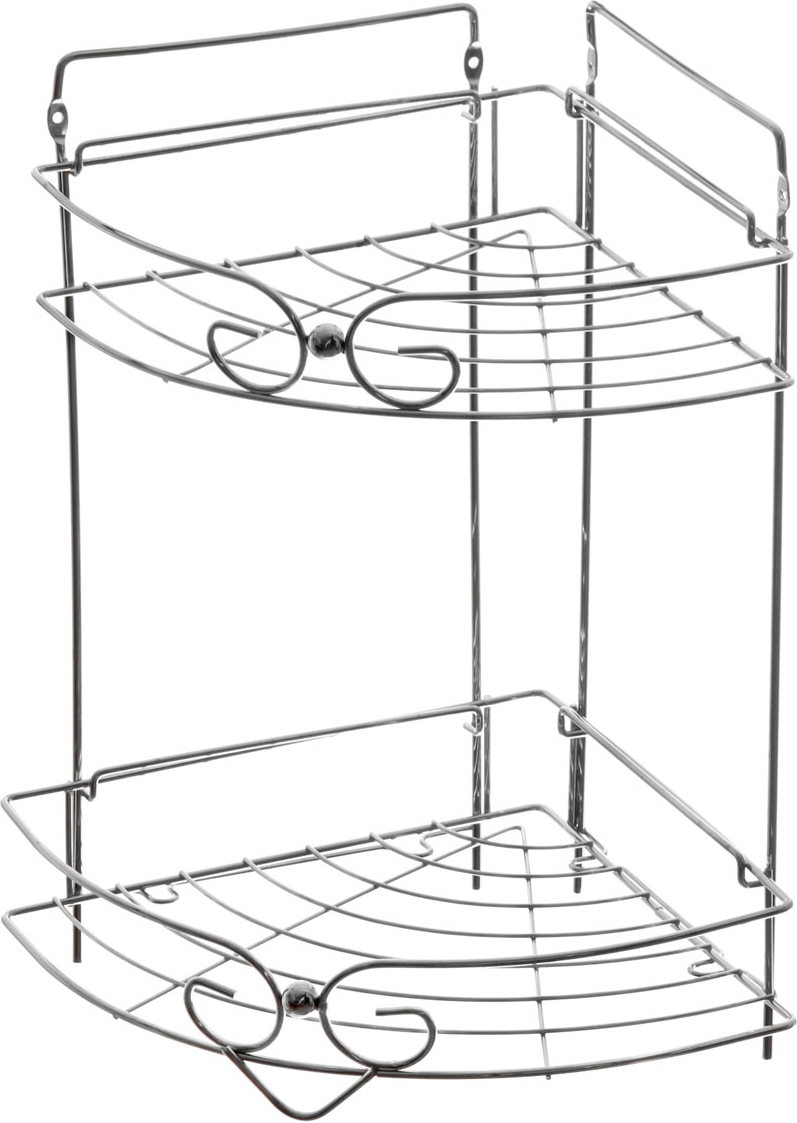 Полка угловая Доляна, 2-х ярусная, высота 39 см. 131396131396Полка Доляна выполнена из высококачественного металла и предназначена для хранения вещей в ванной комнате. Полка угловая и состоит из 2-х ярусов одинакового размера с бортиком по краю. Она пригодится для хранения различных предметов, которые всегда будут под рукой.Благодаря компактным размерам полка впишется в интерьер вашего дома и позволит вам удобно и практично хранить предметы домашнего обихода.Удобная и практичная металлическая полочка станет незаменимым аксессуаром в вашем хозяйстве.Крепления входят в комплект. Высота полки: 39 см.Размер яруса: 22 см х 22 см.