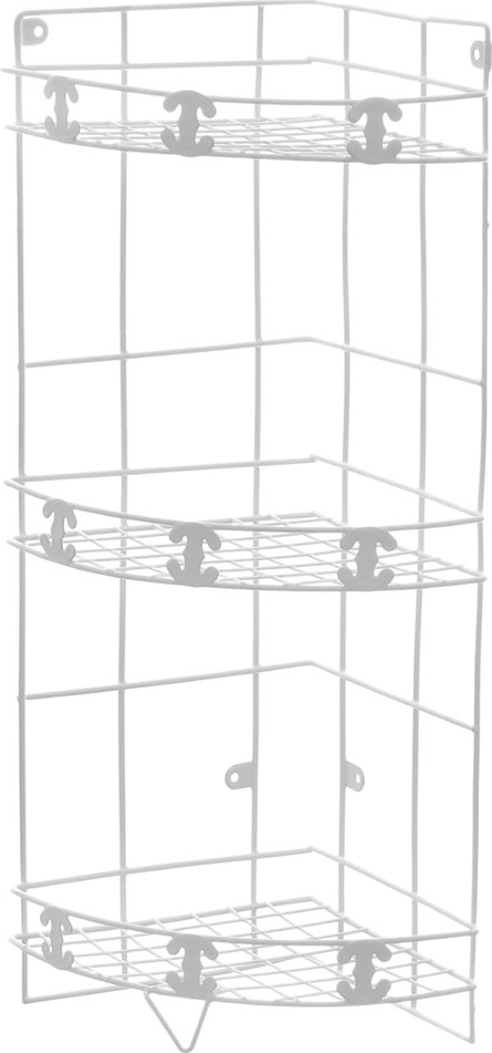 Полка угловая Доляна, 3-х ярусная, высота 57 см. 131426131426Полка Доляна выполнена из высококачественного металла и предназначена для хранения вещей в ванной комнате. Полка угловая и состоит из 3-х ярусов одинакового размера с бортиком по краю. Она пригодится для хранения различных предметов, которые всегда будут под рукой.Благодаря компактным размерам полка впишется в интерьер вашего дома и позволит вам удобно и практично хранить предметы домашнего обихода.Удобная и практичная металлическая полочка станет незаменимым аксессуаром в вашем хозяйстве. Высота полки: 57 см.Размер яруса: 20,5 см х 20,5 см.Расстояние между ярусами: 23 см.