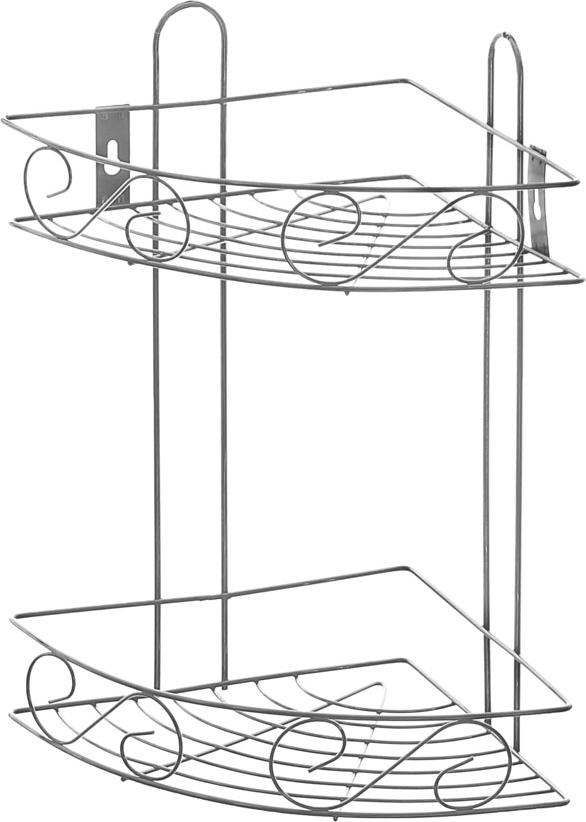 Полка угловая Доляна, 2-х ярусная, высота 34 см647835Полка Доляна выполнена из высококачественного металла и предназначена для хранения вещей в ванной комнате. Полка угловая и состоит из 2-х ярусов одинакового размера с бортиком по краю. Она пригодится для хранения различных предметов, которые всегда будут под рукой.Благодаря компактным размерам полка впишется в интерьер вашего дома и позволит вам удобно и практично хранить предметы домашнего обихода.Удобная и практичная металлическая полочка станет незаменимым аксессуаром в вашем хозяйстве. Высота полки: 34 см.Размер яруса: 20,5 см х 20,5 см.Расстояние между ярусами: 24 см.