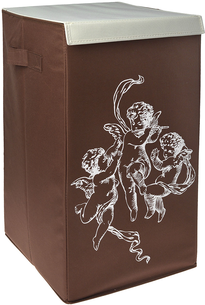 Корзина для белья Hausmann, цвет: коричневый, 35 x 35 x 64 см4F-106A