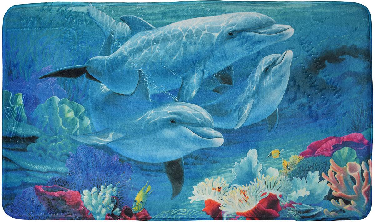 """Коврик White Fox """"Дельфины"""" из серии Relax равномерно распределяет нагрузку на поверхность стопы, снимая напряжение и усталость в ногах. Он состоит из трех слоев: - верхний флисовый слой прекрасно """"дышит"""", благодаря чему коврик быстро высыхает;- основной слой выполнен из специального вспененного материала, который точно повторяет рельеф стопы, создает комфорт и полностью восстанавливает первоначальную форму;- нижний резиновый слой препятствуют скольжению коврика на полу. Качественное изделие притягивает взгляд и прекрасно подойдет к интерьеру вашего дома.Можно стирать в стиральной машине при температуре 30°С."""