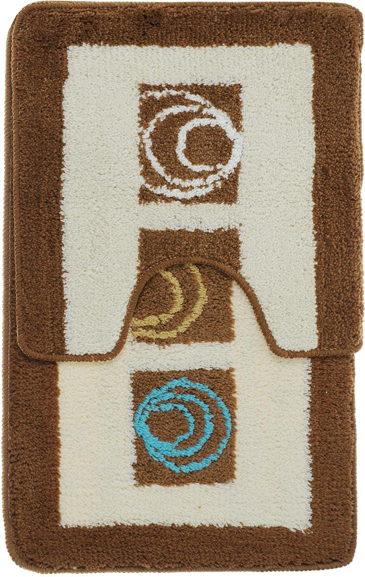 Комплект ковриков для ванной Fresh Code Микс, цвет: коричневый, белый, 2 предмета чехол для брелка сигнализации tomahawk 7000 7010 9000 9010 new кобура замша синяя