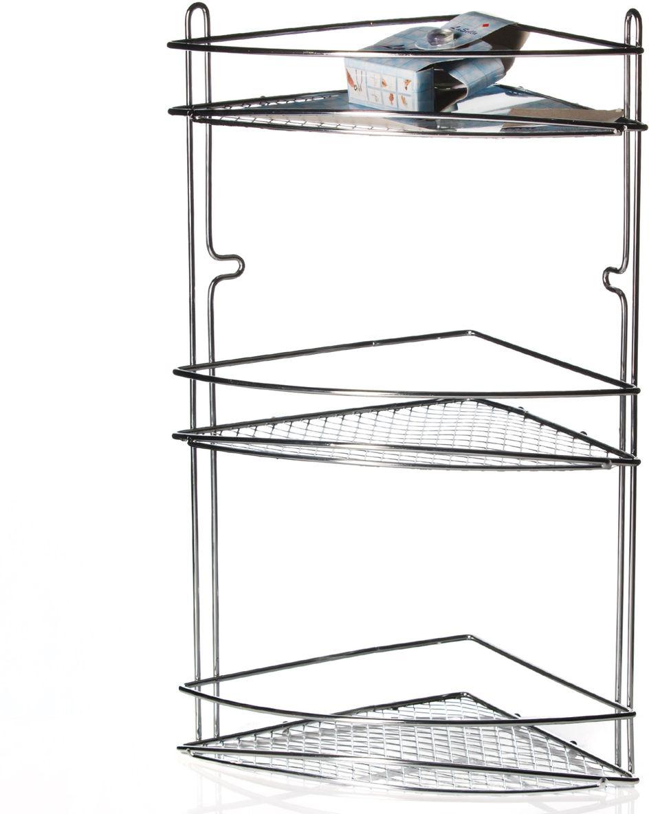 Полка угловая LaSella для ванной комнаты, трехъярусная, 28 см х 19 см х 46,5 смKTW-040Угловая трехъярусная полка LaSella удачно впишется в интерьер ванной комнаты ипозволит вам удобно и практично хранить предметы домашнего обихода.Изготовленная из стали высокого качества, рассчитана на длительный срок службы.Защитное хромированное покрытие с антибактериальным эффектом предотвращаетпоявление грибков, плесени и ржавчины. Тщательно продуманная конструкция изделиякрепится надежно и без особых усилий при помощи двух присосок (входят вкомплект).Безупречность, стиль и качество - вот что отличает представленные аксессуары для туалетаи ванной комнаты.Размер полки: 28 см х 19 см х 46,5 см. Диаметр присоски: 6,5 см.