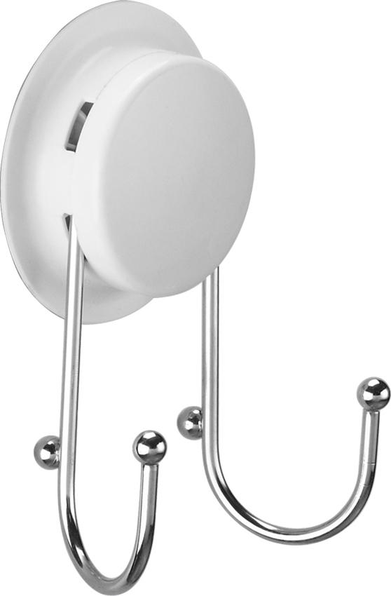 """Двойной крючок """"GarBath"""" изготовлен из пластика и нержавеющей стали, и легко удержит сразу два полотенца. Уникальная система крепления позволяет закрепить крючок на стене, не используя шурупы. Есть несколько вариантов крепления:  - вакуумная присоска - выдерживает вес до 5 кг;  - клей - прочно крепится к неровной, воздухопроницаемой поверхности;  - при желании, еще один вид крепления - шуруп.   Клей и шуруп входят в комплект.    Оригинальный крючок """"GarBath"""" займет достойное место в вашей ванной.      Диаметр вакуумного крепления: 7 см.    Размер крючка: 4,5 см х 5 см."""
