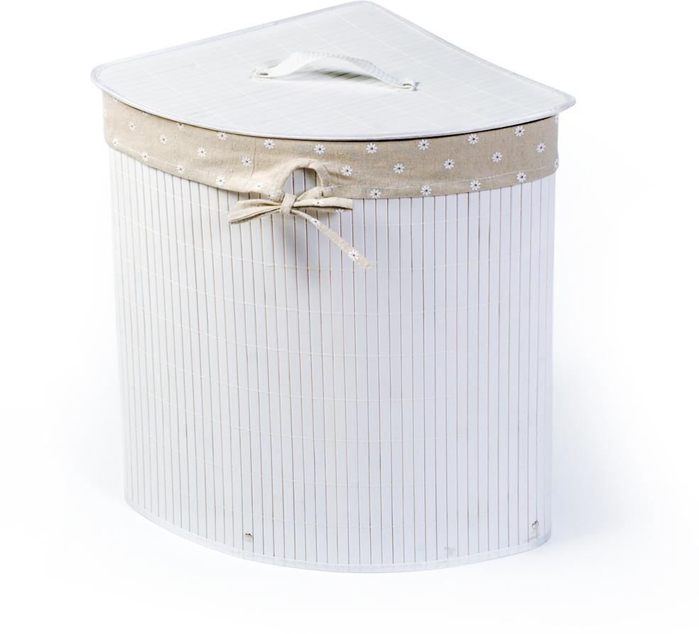 Корзина для белья Tatkraft Virginia, угловая, цвет: белый, 35 х 35 х 50 см 11847 цена